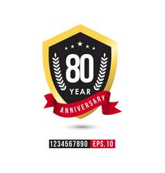 80 year anniversary template design vector