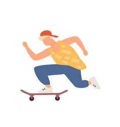 active teenager boy riding on skateboard vector image