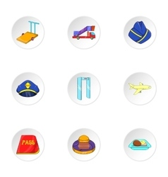 Airport check-in icons set cartoon style vector