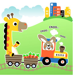 animals on train cartoon vector image