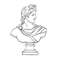 Apollo sculpture actual classic ancient statue vector