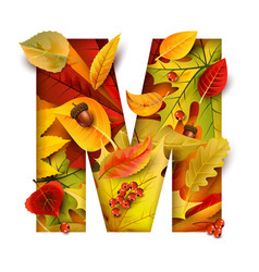 autumn stylized alphabet letter m vector image