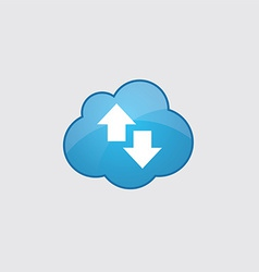 Blue cloud up and down arrow icon vector