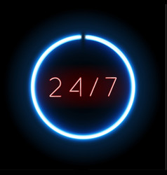 blue neon open 24 hours 7 days sign circle shape vector image