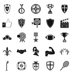 Bonus icons set simple style vector