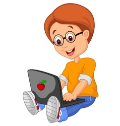 Boy cartoon with laptop vector image