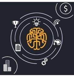 Brain analysis idea vector image