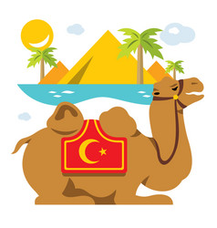 Camel and palms in desert oasis flat vector