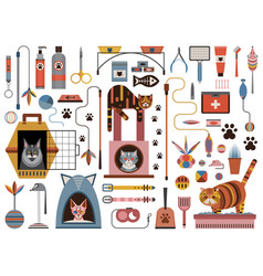 cat accessories and pet supplies icon set vector image