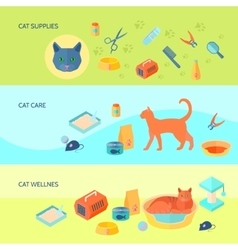 Cats 3 horizontal flat banners set vector image