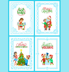 christmas holidays activities greeting cards set vector image