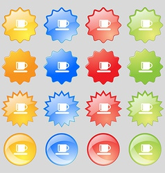 Coffee cup icon sign Big set of 16 colorful modern vector