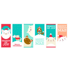 collection christmas banners with cute cats vector image
