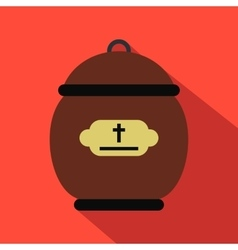 Cremation urn flat icon vector