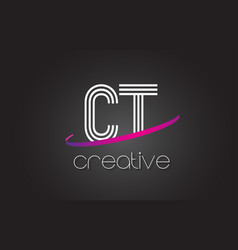 Ct c t letter logo with lines design and purple vector