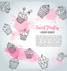 Cupcake background with handdrawn cupcakes and vector