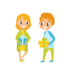 cute boy and girl with gift boxes going to party vector image