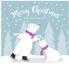 cute flat design christmas card with polar bears vector image