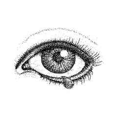 Dotwork crying eye vector