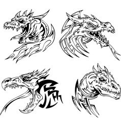 Dragon head tattoos vector image