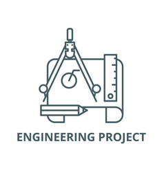 engineering project line icon linear vector image