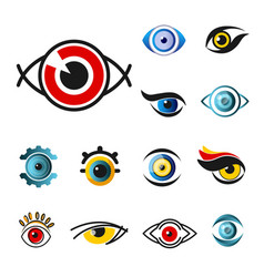 Eye isolated icons pupils vision or sight vector