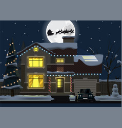 Family house at christmas night winter home vector