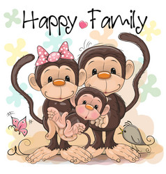 Family of three cute monkeys vector