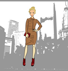 Fashionable business woman in jacket and midi vector
