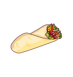 Fast food roll shawarma taco vector