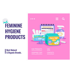 Feminine hygiene products banner vector