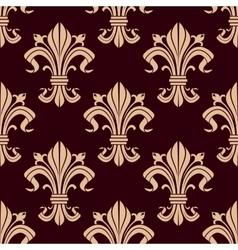Fleur-de-lis seamless pattern of victorian lilies vector image