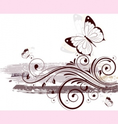 floral illustration with butterflies vector image