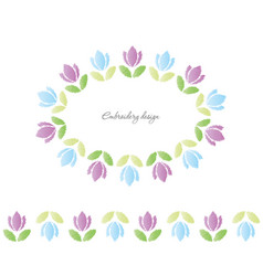 Floral oval frame embroidered tulips isolated on vector