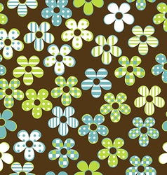 Floral seamless with patterned flowers vector image