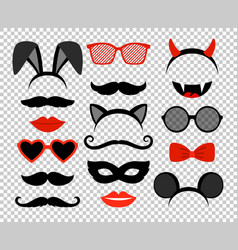 Funny masks masquerade mask set glasses and vector