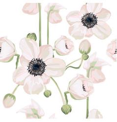 garden powder white pink anemone flower vector image