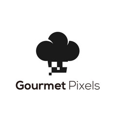 Gourmet pixels logo chef hat silhouette vector