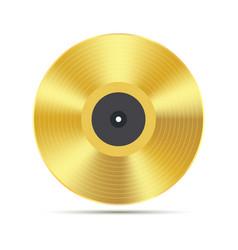 gramophone golden vinyl disco record album music vector image
