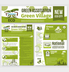 Green eco nature company templates set vector