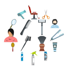 hairdressing flat icons set vector image