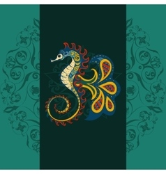 Hand drawn Ornamental sea-horse vector