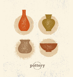 Handmade clay pottery workshop artisanal creative vector