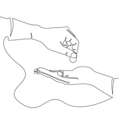 helping hand concept give alms continuous line vector image