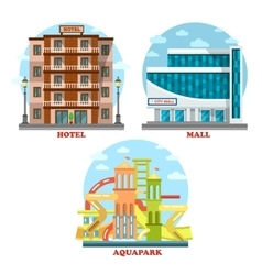 Hotel and aqua or water park mall supermarket vector