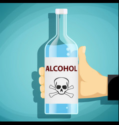 human hand holding a bottle of alcohol vector image