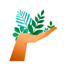human hand with green plant leaf for earth help vector image