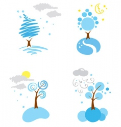 icons winter weather vector image