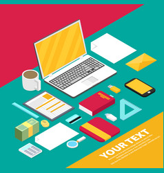 isometric art creative office workplace vector image