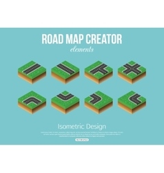 Isometric road creator elements for city building vector image vector image